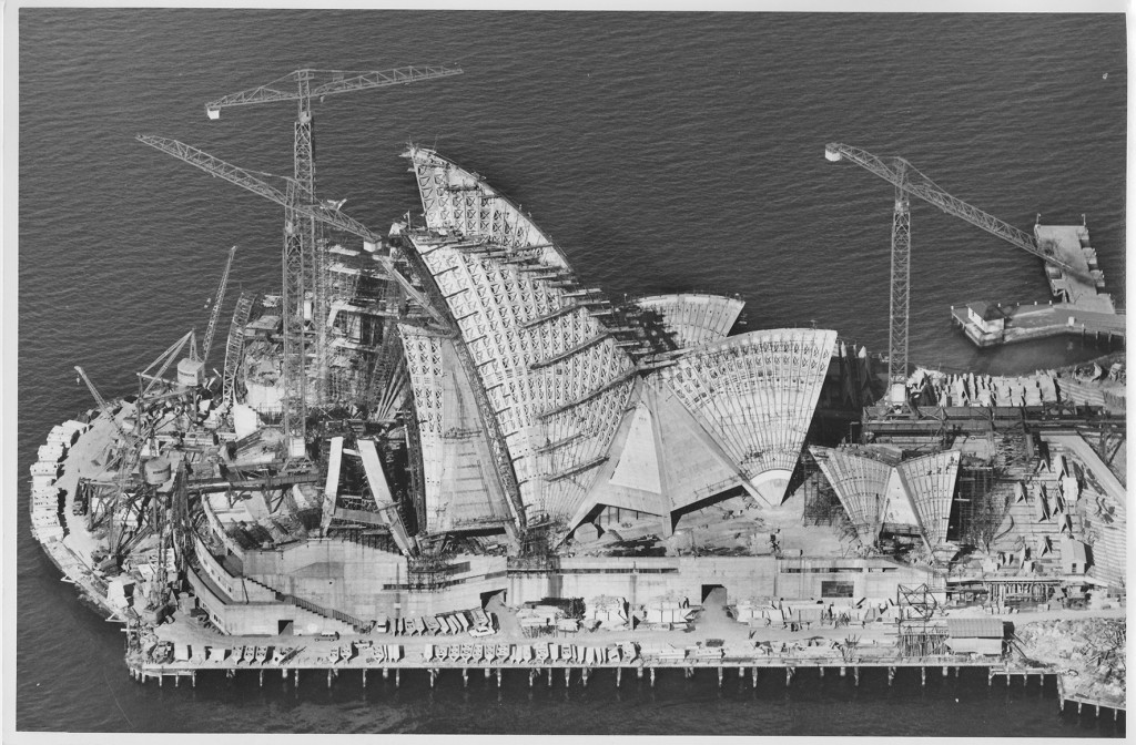 Sydney Opera House under construction, 6 April 1966, Photographer: Robert Baudin, © Robert Baudin/Australian Air Photos